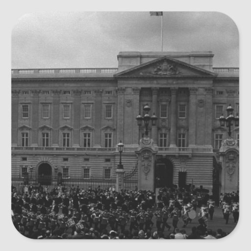 Vintage England London Old Guard Buckingham Palace Square Stickers