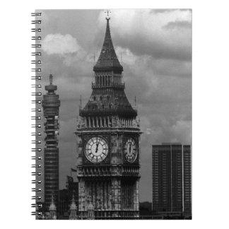 Vintage England London post office tower Big ben Spiral Note Books