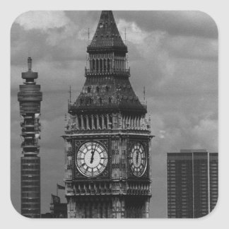 Vintage England London post office tower Big ben Square Sticker