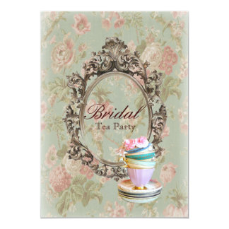 vintage english country floral  bridal tea party card