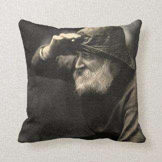 Vintage English Fisherman Nautical Antique Beard Throw Pillow