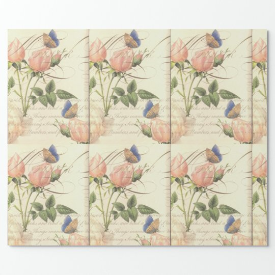 Vintage English Roses Wrapping Paper