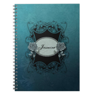 Vintage Engraved Personalized Blue Notebooks