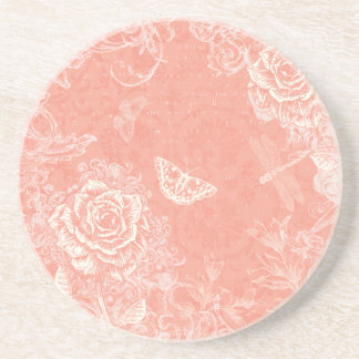 Vintage Engraved Roses and Butterflies Coaster
