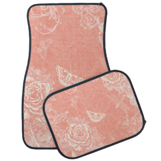 Vintage Engraved Roses Car Mat