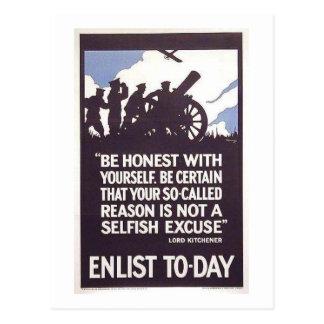 Vintage Enlist Today Recruitment Poster Postcard