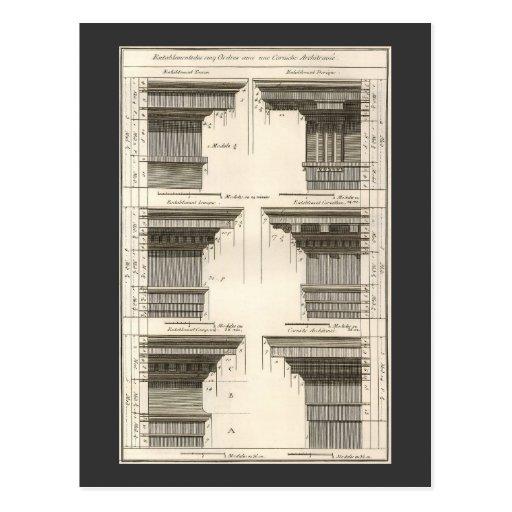 Vintage Entablatures, Orders of Architecture Post Card