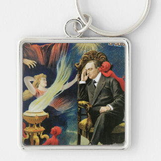 Vintage Ernest Thorn Magician Poster Silver-Colored Square Key Ring
