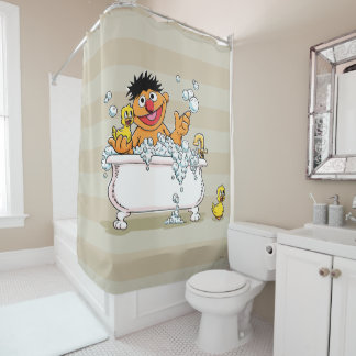 Vintage Ernie in Bathtub Shower Curtain