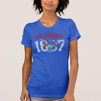 Vintage Est 1837 Michigan Wolverine State Flag Tshirts
