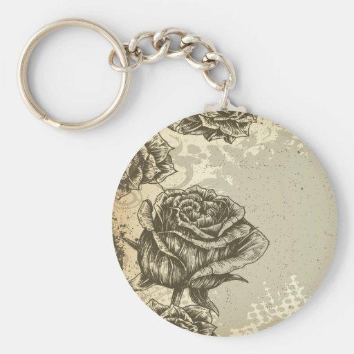 vintage etched roses design keychain