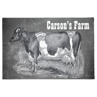 Vintage Etching, Black and White Cow, Doormat