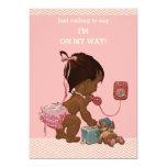 Vintage Ethnic Baby on Phone Baby Shower Chevrons 13 Cm X 18 Cm Invitation Card
