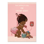 Vintage Ethnic Baby on Phone Baby Shower Chevrons 13 Cm X 18 Cm Invitation Card
