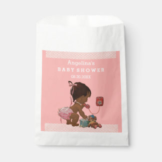 Vintage Ethnic Girl on Phone Baby Shower Chevrons Favour Bags
