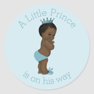 Vintage Ethnic Little Prince Baby Shower Blue Round Sticker
