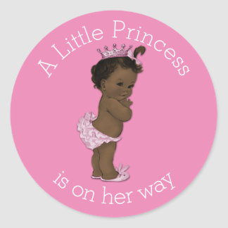 Vintage Ethnic Little Princess Baby Shower Pink Classic Round Sticker