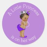 Vintage Ethnic Little Princess Baby Shower Purple Round Sticker