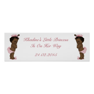 Vintage Ethnic Princess Baby Shower Banner Poster