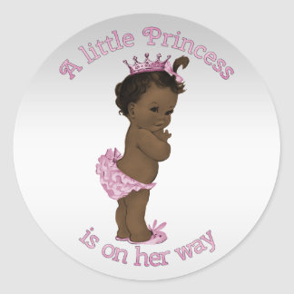 Vintage Ethnic Princess Baby Shower Round Sticker