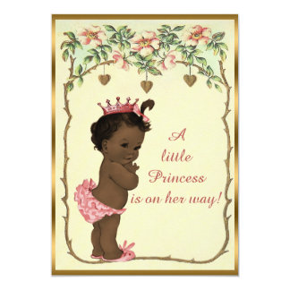 Vintage Ethnic Princess Roses & Hearts Baby Shower Card
