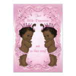 Vintage Ethnic Princess Twins Baby Shower Pink Personalised Invitations