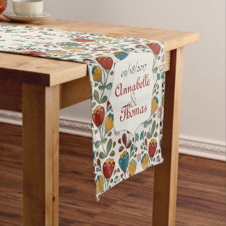 Vintage Ethno Flowers custom couple names Short Table Runner