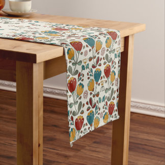 Vintage Ethno Flowers in red, blue and yellow Short Table Runner
