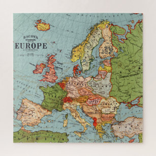 Vintage Europe 20th Century Bacon's Standard Map Jigsaw Puzzle