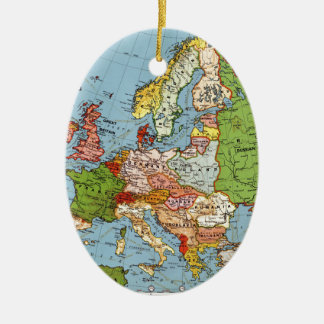 Vintage Europe 20th Century General Map Christmas Ornament