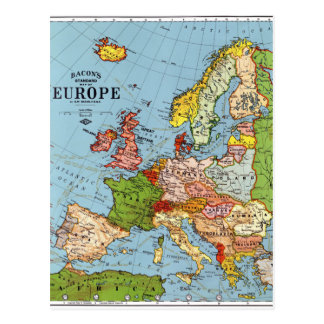 Vintage Europe 20th Century General Map Postcard