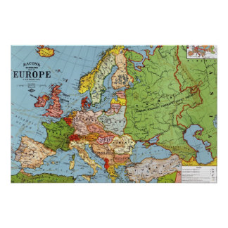 Vintage Europe 20th Century General Map Poster
