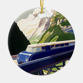Vintage Europe Rail Travel Christmas Ornament