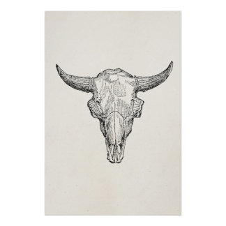 Vintage European Bison Skull Antique Template Poster