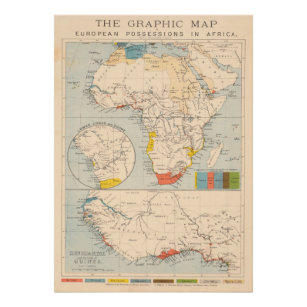 Vintage European Colonies of Africa Map (1884) Poster