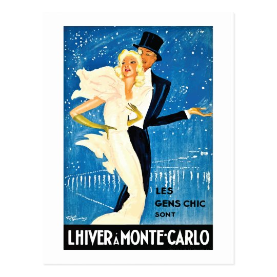 Vintage European Winter in Monte Carlo Travel Postcard