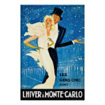 Vintage European Winter in Monte Carlo Travel Poster