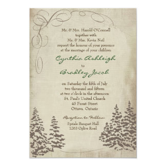 Vintage Evergreen Wedding Invitation