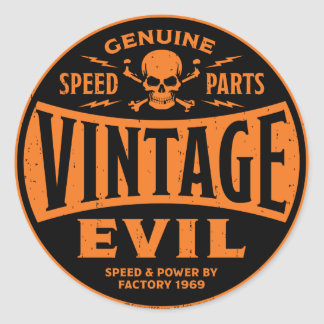 Vintage Evil 002B Round Stickers