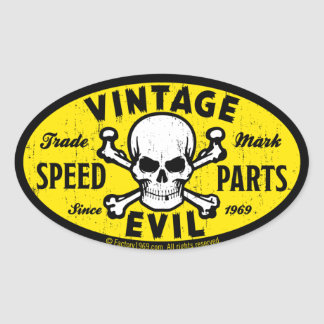 Vintage Evil 007A Oval Sticker