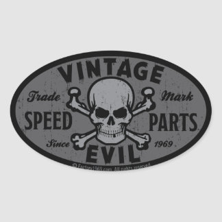 Vintage Evil 007B Oval Sticker
