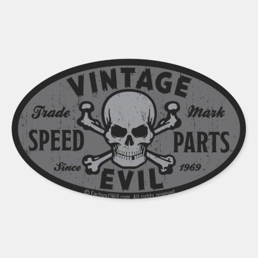 Vintage Evil 007B Oval Sticker