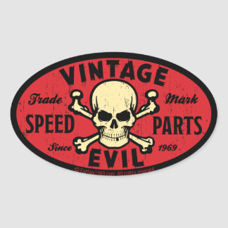 Vintage Evil 007C Oval Sticker