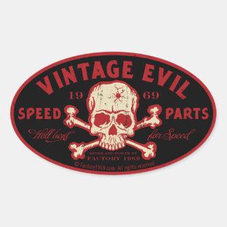 Vintage Evil 016A Oval Stickers