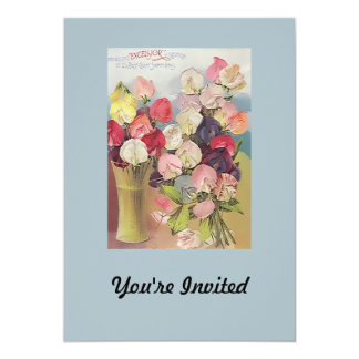 Vintage Excelsior Collection of Assorted Sweetpeas 5x7 Paper Invitation Card