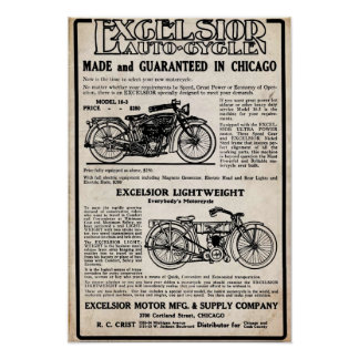 Vintage Excelsior Motorcycle Company Print