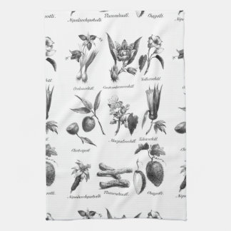 Vintage exotic fruit etching mini towel