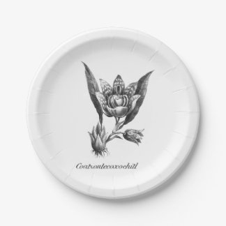 Vintage exotic orchid flower etching paper plate