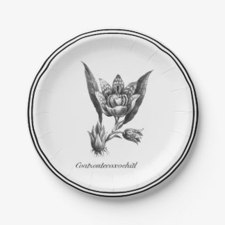 Vintage exotic orchid flower etching paper plate 7 inch paper plate