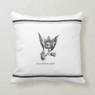 Vintage exotic orchid flower etching pillow cushion